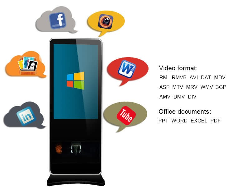 kiosk signage display stands supports 3g/4g wifi network and a variety of social media