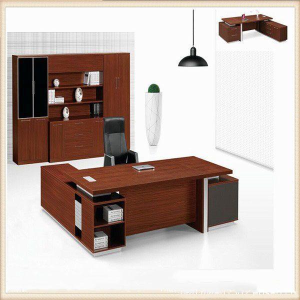 L Shape Design Mahogany Color Melamine Office Table Desk Furniture