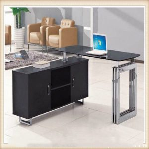 Standard size 1 8 meter glass office table desk furniture (HX-GL025