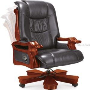 revolving leather office chair with armrest